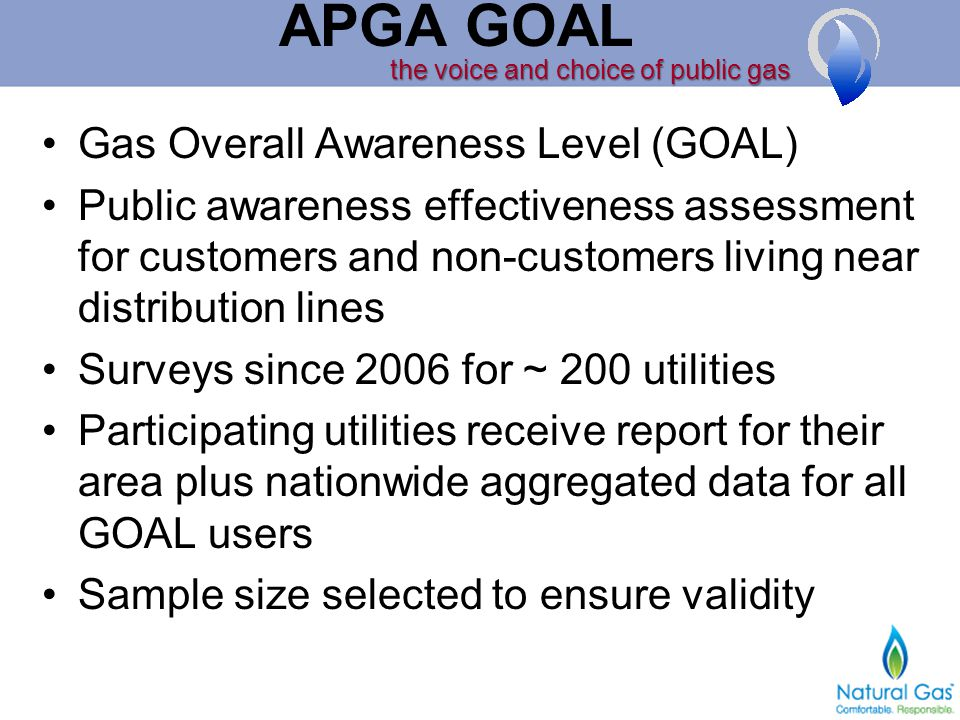 the voice and choice of public gas APGA GOAL Gas Overall Awareness Level (GOAL) Public awareness effectiveness assessment for customers and non-customers living near distribution lines Surveys since 2006 for ~ 200 utilities Participating utilities receive report for their area plus nationwide aggregated data for all GOAL users Sample size selected to ensure validity