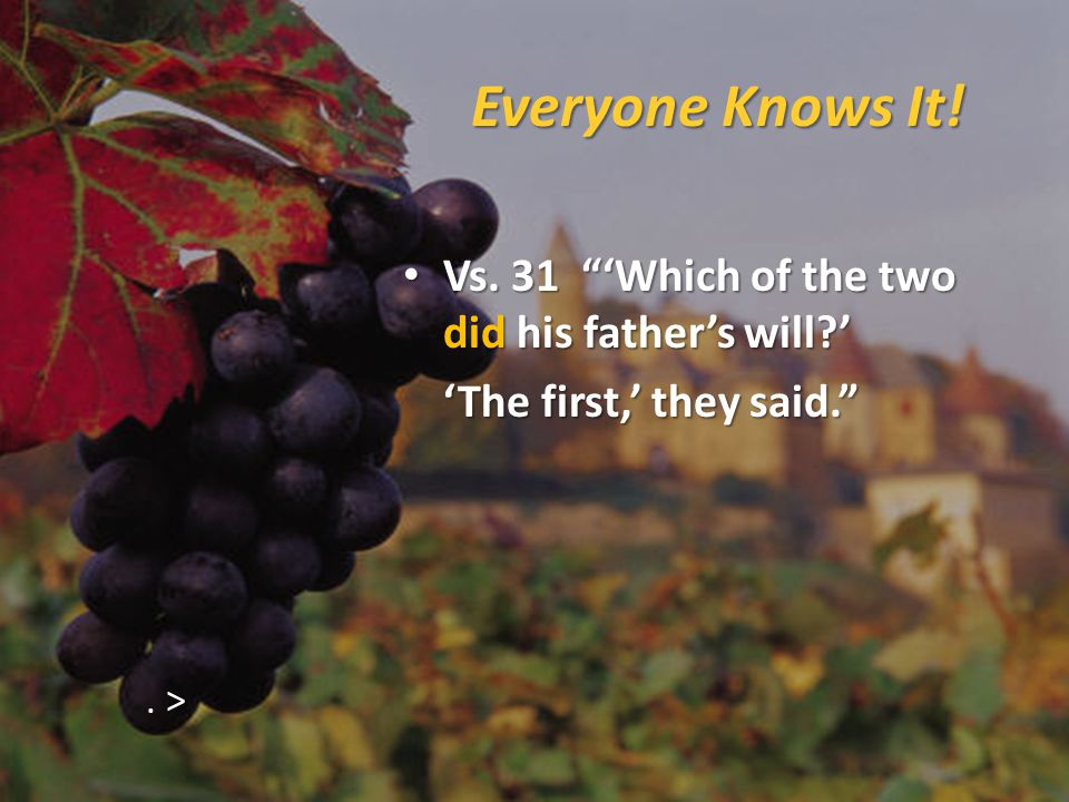Everyone Knows It. Vs. 31 'Which of the two did his father's will?' Vs.