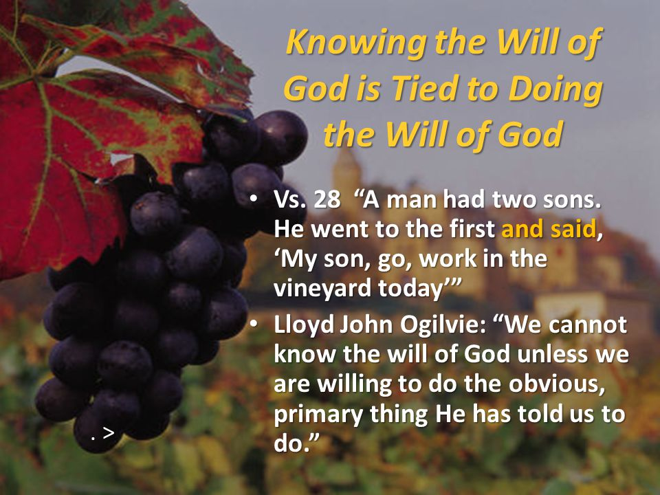 Knowing the Will of God is Tied to Doing the Will of God Vs.