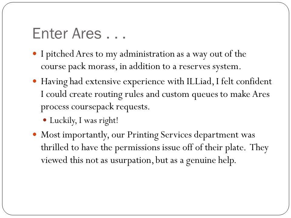 Enter Ares...