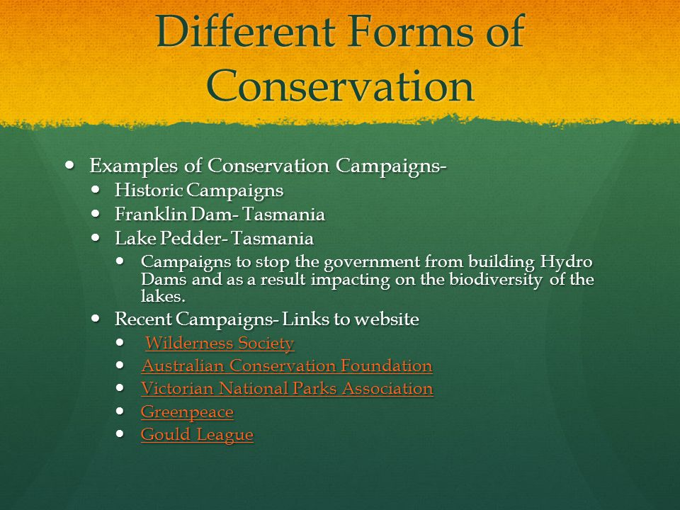 Different Forms of Conservation Examples of Conservation Campaigns- Examples of Conservation Campaigns- Historic Campaigns Historic Campaigns Franklin Dam- Tasmania Franklin Dam- Tasmania Lake Pedder- Tasmania Lake Pedder- Tasmania Campaigns to stop the government from building Hydro Dams and as a result impacting on the biodiversity of the lakes.