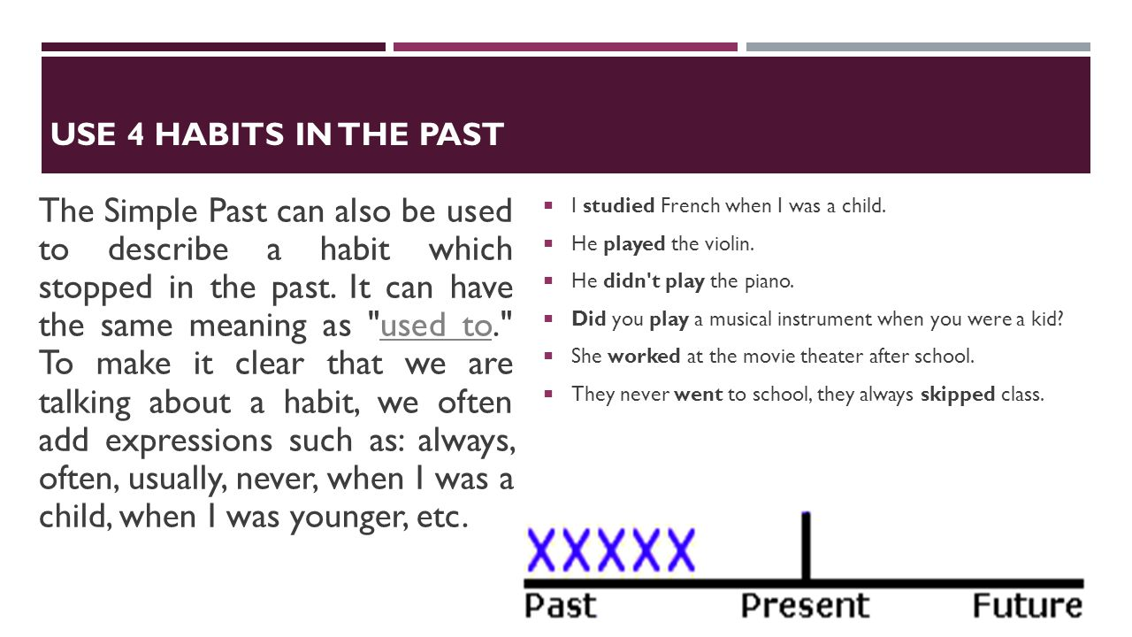 USE 4 HABITS IN THE PAST The Simple Past can also be used to describe a habit which stopped in the past. It can have the same meaning as