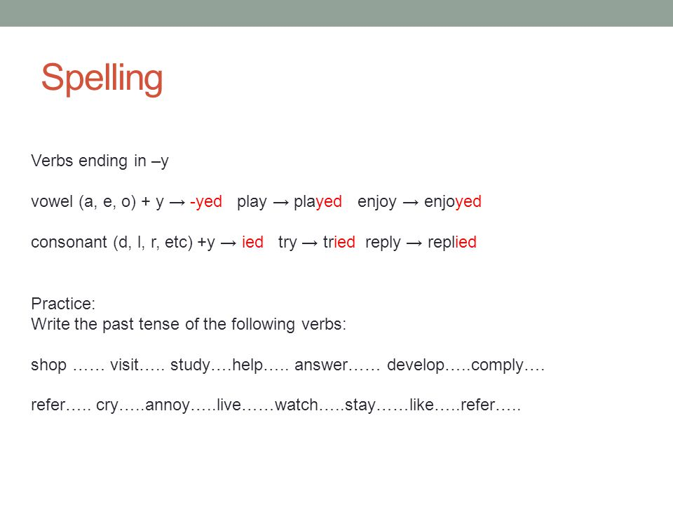 Spelling check shop shopped ….visit visited …... study studied …..help helped answer answered …..
