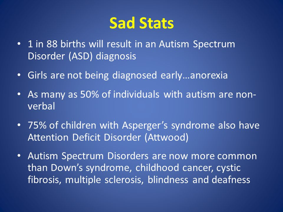 Sad Stats 1 in 88 births will result in an Autism Spectrum Disorder (ASD) diagnosis Girls are not being diagnosed early…anorexia As many as 50% of individuals with autism are non- verbal 75% of children with Asperger's syndrome also have Attention Deficit Disorder (Attwood) Autism Spectrum Disorders are now more common than Down's syndrome, childhood cancer, cystic fibrosis, multiple sclerosis, blindness and deafness