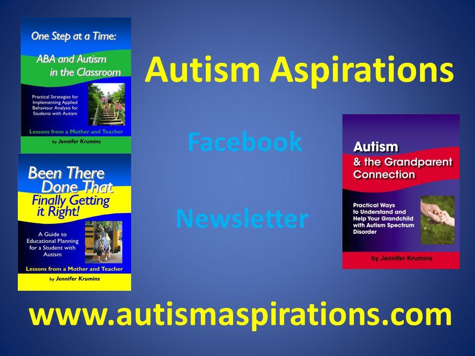 Autism Aspirations Facebook Newsletter www.autismaspirations.com