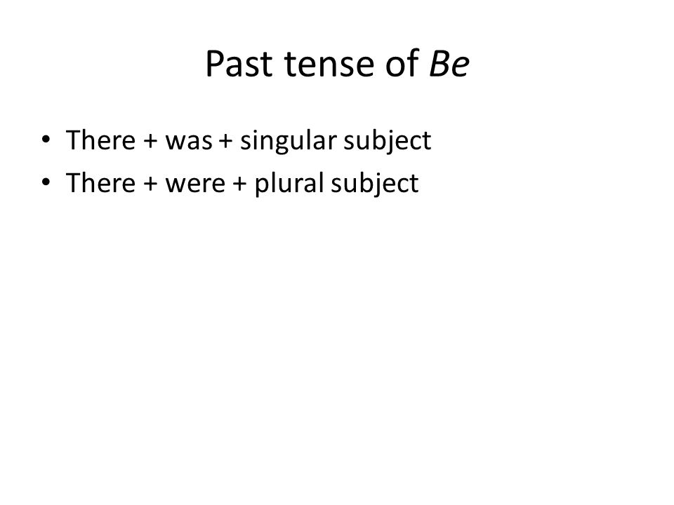 Past tense of Be There + was + singular subject There + were + plural subject