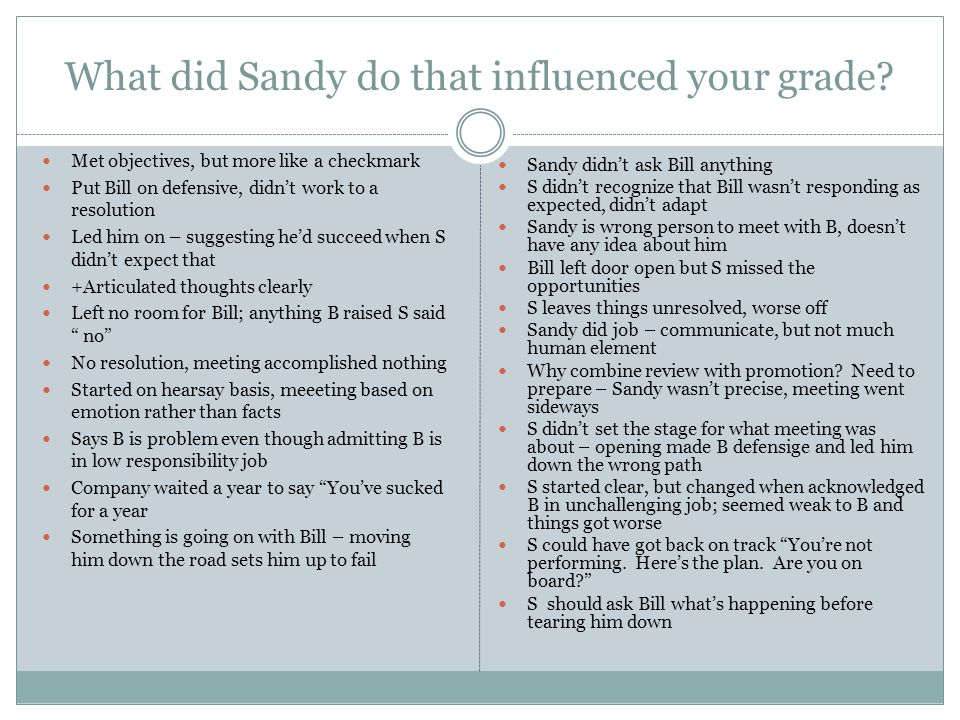 What did Sandy do that influenced your grade? Met objectives, but more like a checkmark Put Bill on defensive, didn't work to a resolution Led him on