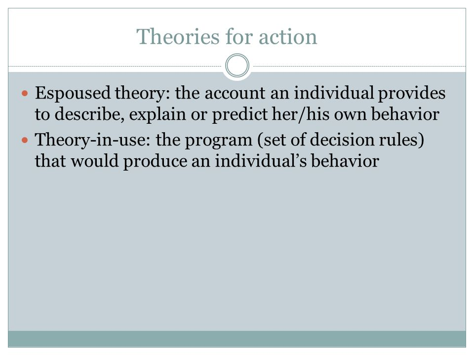 Theories for action Espoused theory: the account an individual provides to describe, explain or predict her/his own behavior Theory-in-use: the progra