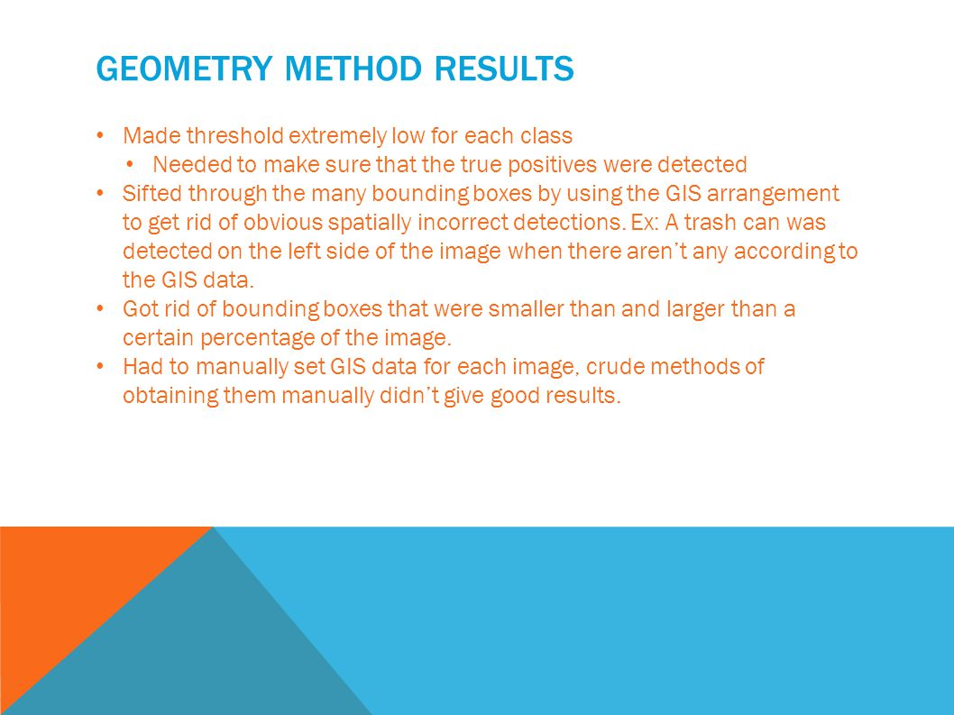 GEOMETRY METHOD RESULTS Made threshold extremely low for each class Needed to make sure that the true positives were detected Sifted through the many