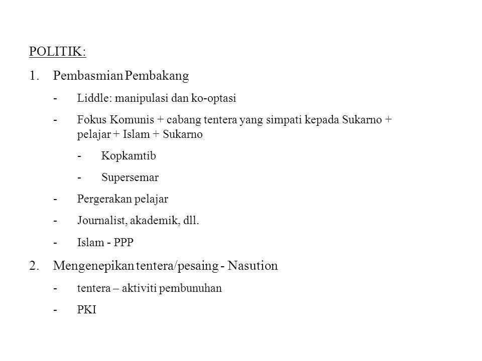 POLITIK: 1.Pembasmian Pembakang -Liddle: manipulasi dan ko-optasi -Fokus Komunis + cabang tentera yang simpati kepada Sukarno + pelajar + Islam + Suka