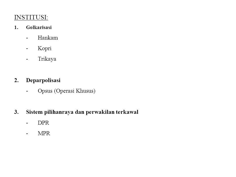 INSTITUSI: 1.Golkarisasi -Hankam -Kopri -Trikaya 2.Deparpolisasi -Opsus (Operasi Khusus) 3.Sistem pilihanraya dan perwakilan terkawal -DPR -MPR