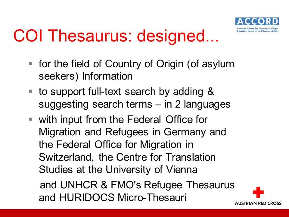 COI Thesaurus: designed...
