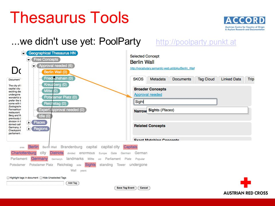 Thesaurus Tools...we didn t use yet: PoolParty http://poolparty.punkt.at http://poolparty.punkt.at Document processing - Tag recommender: