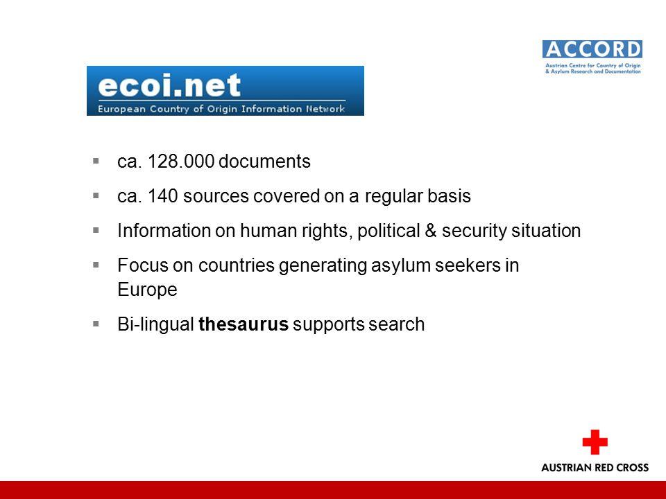  ca. 128.000 documents  ca.