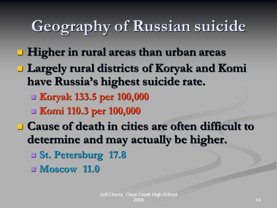 14 Jeff Cherry, Clear Creek High School 2008 Geography of Russian suicide Higher in rural areas than urban areas Higher in rural areas than urban area
