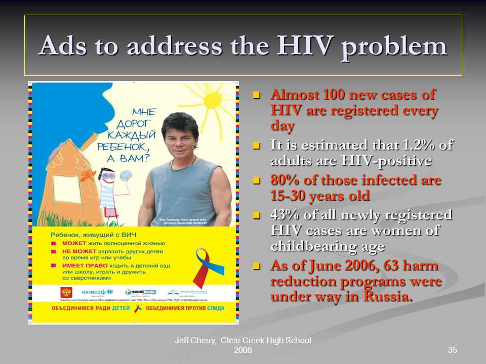 35 Jeff Cherry, Clear Creek High School 2008 Ads to address the HIV problem Almost 100 new cases of HIV are registered every day It is estimated that 1.2% of adults are HIV-positive 80% of those infected are 15-30 years old 43% of all newly registered HIV cases are women of childbearing age As of June 2006, 63 harm reduction programs were under way in Russia.