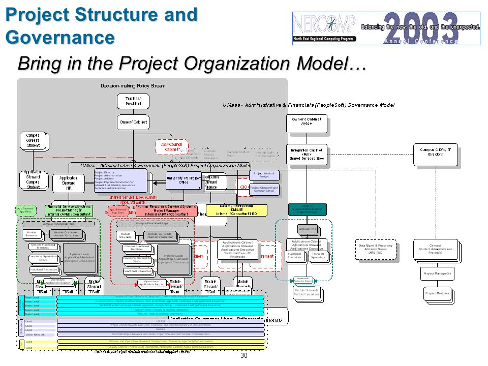 30 Project Structure and Governance Bring in the Project Organization Model…