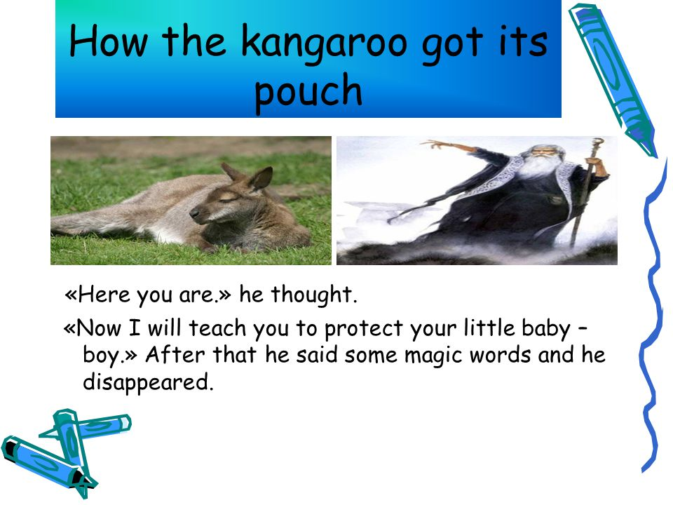 How the kangaroo got its pouch «Here you are.» he thought.