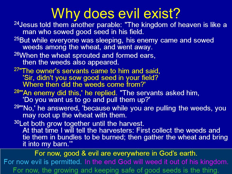 Why does evil exist? 24 Jesus told them another parable: