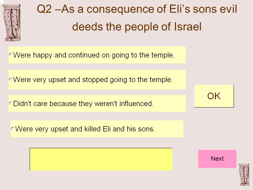 Q2 –As a consequence of Eli's sons evil deeds the people of Israel