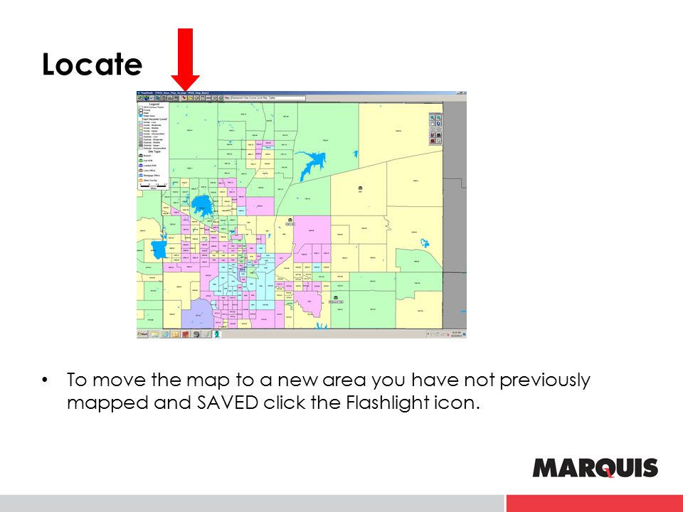 Locate To move the map to a new area you have not previously mapped and SAVED click the Flashlight icon.