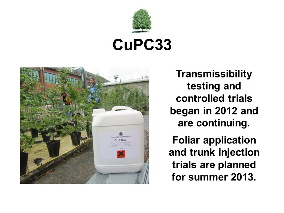 CuPC33 Transmissibility testing and controlled trials began in 2012 and are continuing.