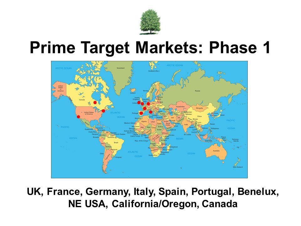 UK, France, Germany, Italy, Spain, Portugal, Benelux, NE USA, California/Oregon, Canada Prime Target Markets: Phase 1