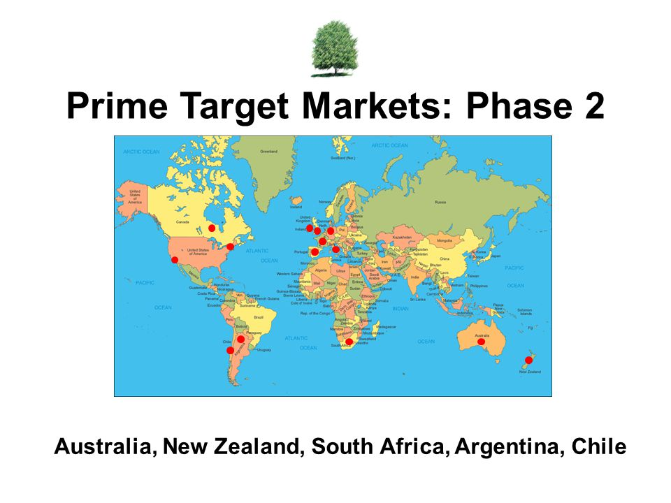 Australia, New Zealand, South Africa, Argentina, Chile Prime Target Markets: Phase 2