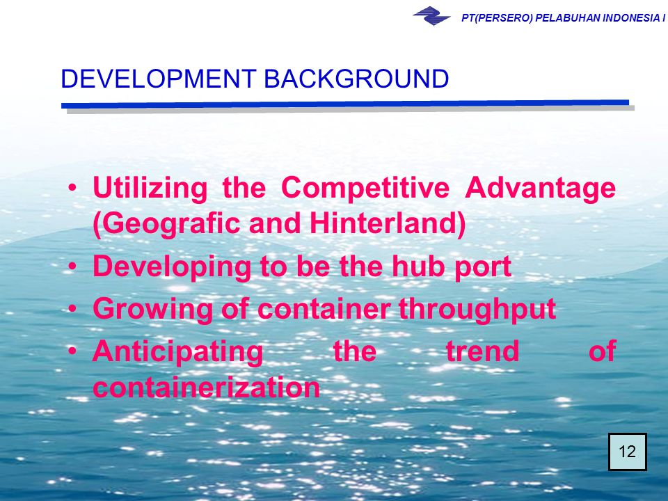 PT(PERSERO) PELABUHAN INDONESIA I Utilizing the Competitive Advantage (Geografic and Hinterland) Developing to be the hub port Growing of container th