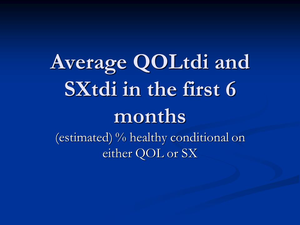 Average QOLtdi and SXtdi in the first 6 months (estimated) % healthy conditional on either QOL or SX