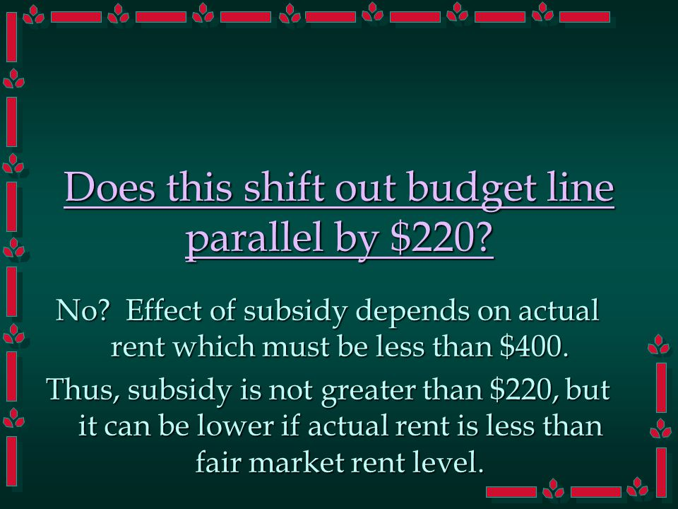 Does this shift out budget line parallel by $220? No? Effect of subsidy depends on actual rent which must be less than $400. Thus, subsidy is not grea
