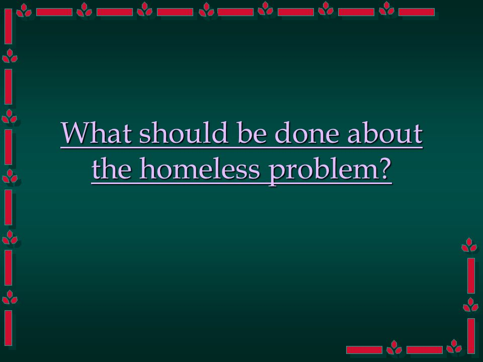 What should be done about the homeless problem?