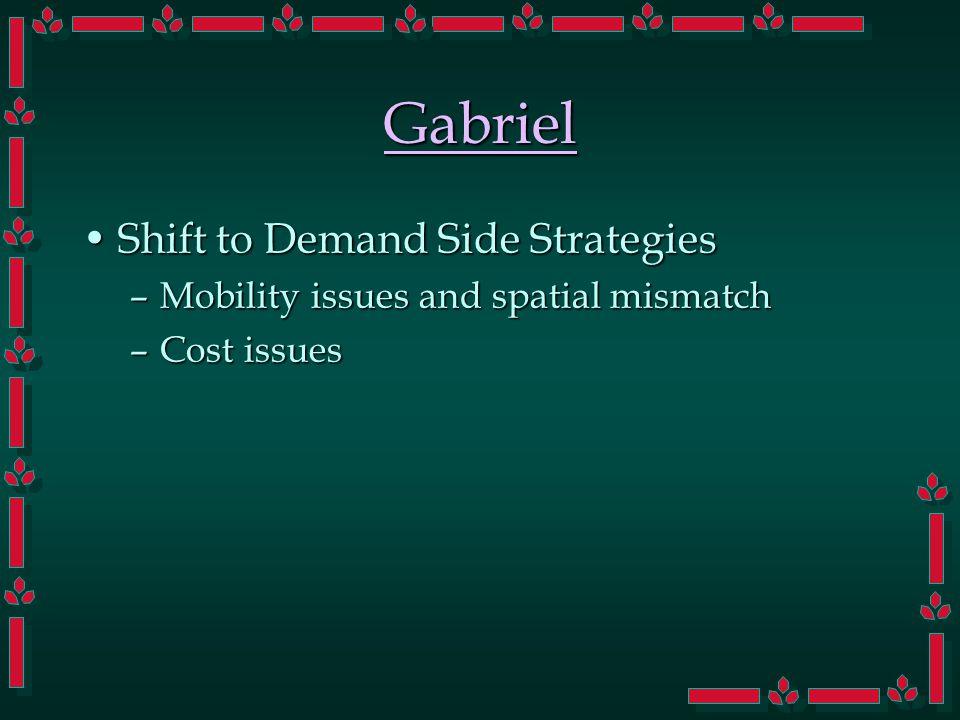 Gabriel Shift to Demand Side StrategiesShift to Demand Side Strategies –Mobility issues and spatial mismatch –Cost issues