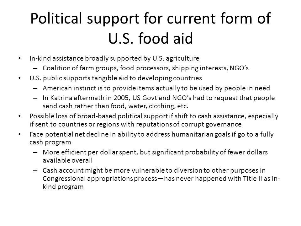Political support for current form of U.S. food aid In-kind assistance broadly supported by U.S.