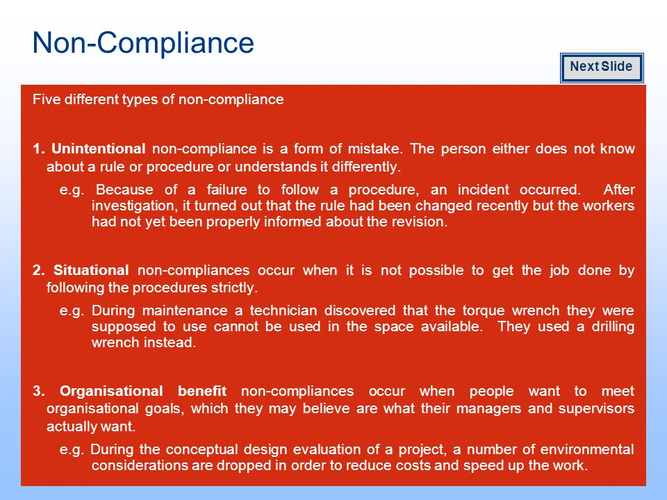 Non-Compliance Five different types of non-compliance 1.