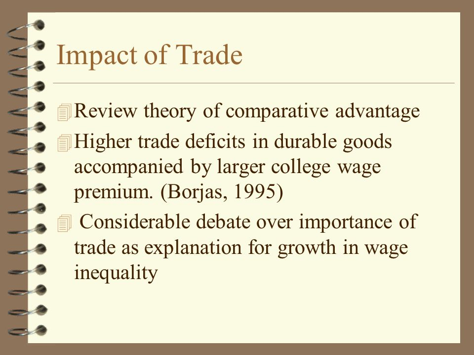 Impact of Trade 4 Review theory of comparative advantage 4 Higher trade deficits in durable goods accompanied by larger college wage premium. (Borjas,