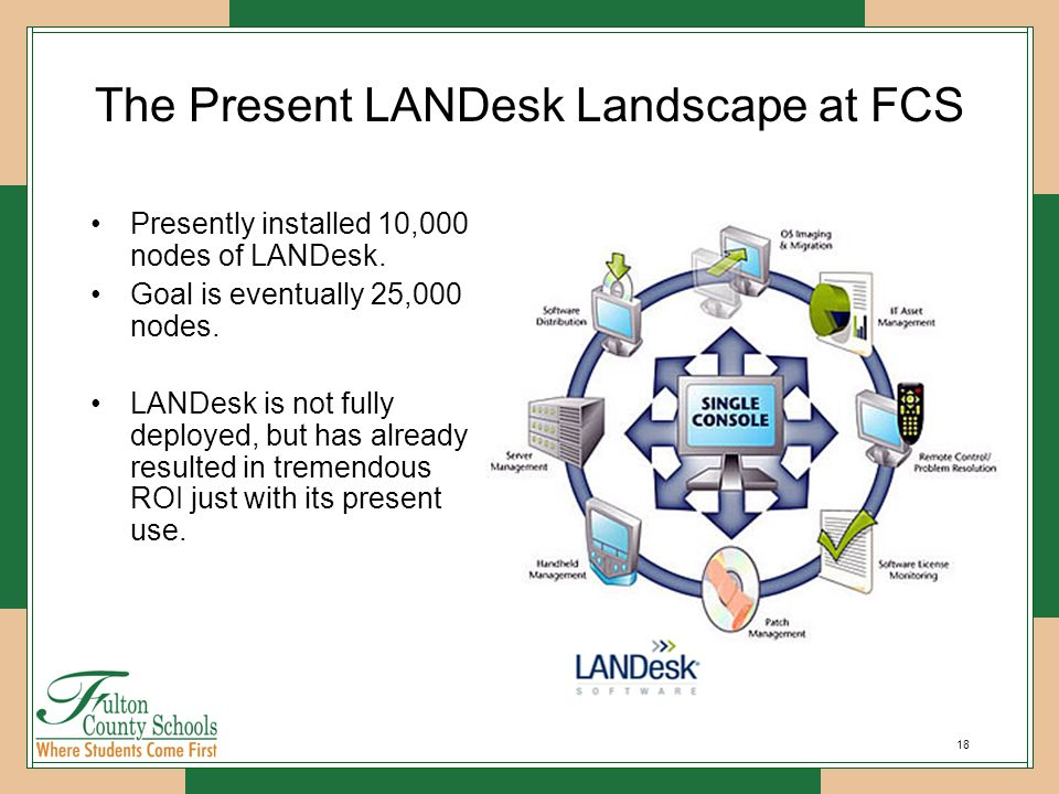 18 The Present LANDesk Landscape at FCS Presently installed 10,000 nodes of LANDesk.