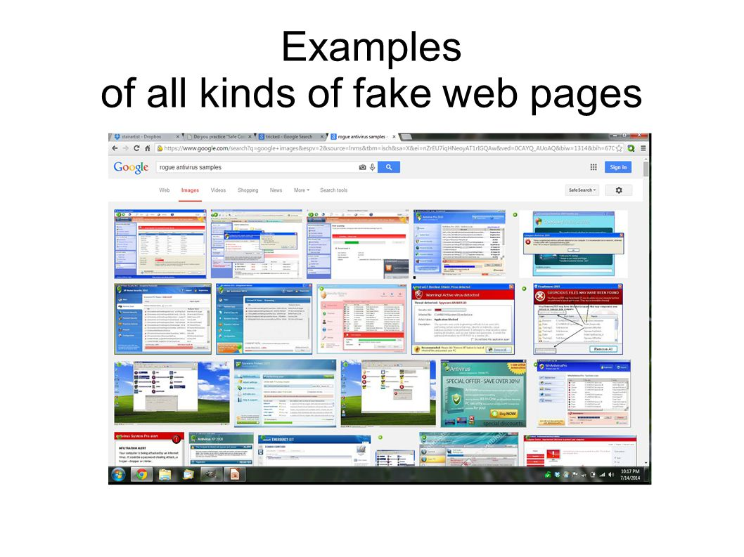 Examples of all kinds of fake web pages