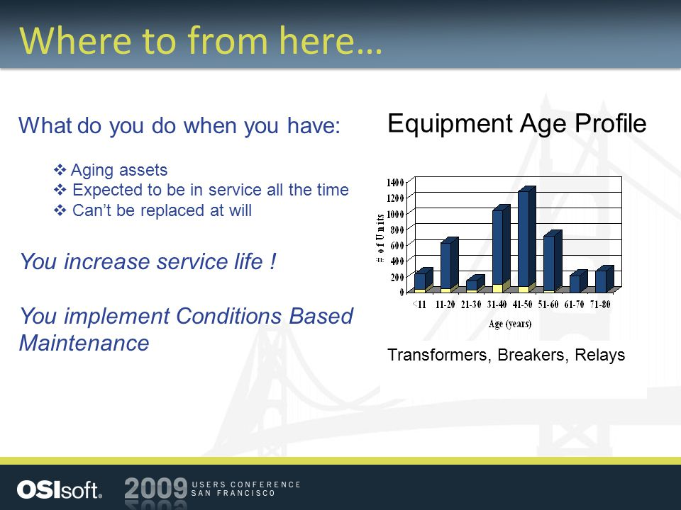 Where to from here… Equipment Age Profile Transformers, Breakers, Relays What do you do when you have:  Aging assets  Expected to be in service all the time  Can't be replaced at will You increase service life .