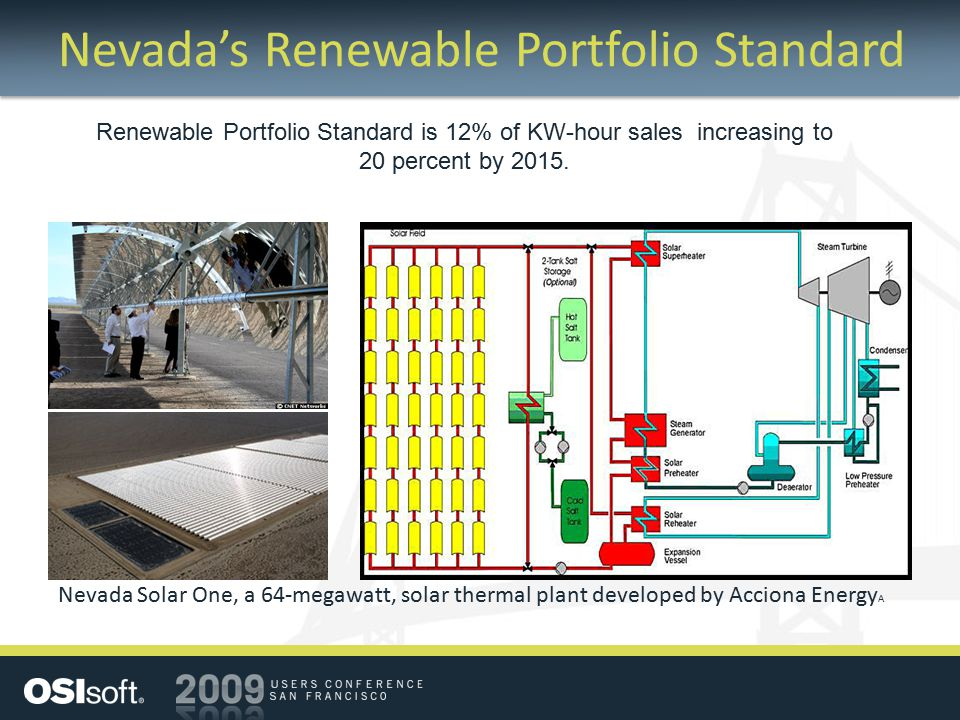 Nevada's Renewable Portfolio Standard Nevada Solar One, a 64-megawatt, solar thermal plant developed by Acciona Energy A Renewable Portfolio Standard