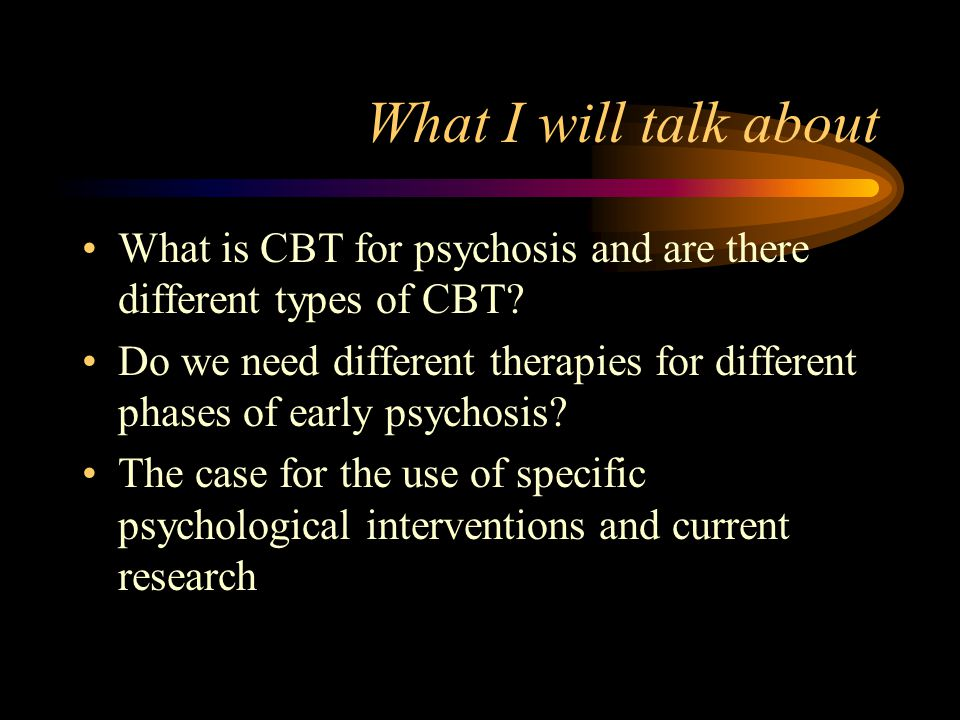 Conclusions There is strong evidence for effects of CBT on symptom reduction and distress with people who have distressing chronic treatment resistant psychotic symptoms There are promising indications of evidence for CBT in preventing relapse/readmission the PRP study will provide a definitive indication
