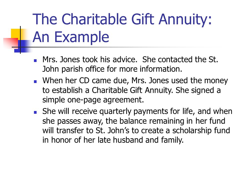 The Charitable Gift Annuity: An Example Mrs.Jones took his advice.