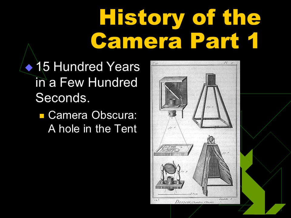 History of the Camera Part 1  15 Hundred Years in a Few Hundred Seconds. Camera Obscura: A hole in the Tent