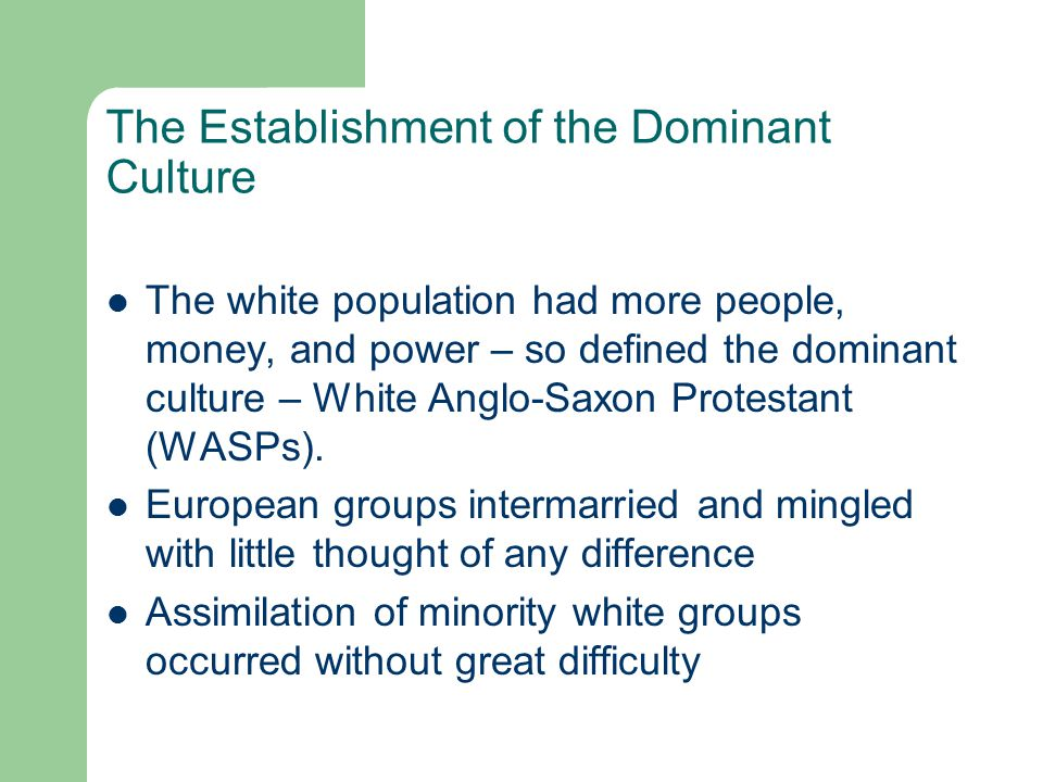 The Establishment of the Dominant Culture The white population had more people, money, and power – so defined the dominant culture – White Anglo-Saxon