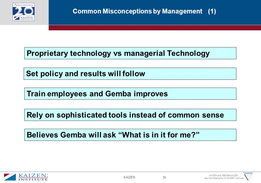KAIZEN 39 KAIZEN and GEMBAKAIZEN are the trademarks of KAIZEN Institute Common Misconceptions by Management (1) Proprietary technology vs managerial Technology Set policy and results will follow Train employees and Gemba improves Rely on sophisticated tools instead of common sense Believes Gemba will ask What is in it for me?