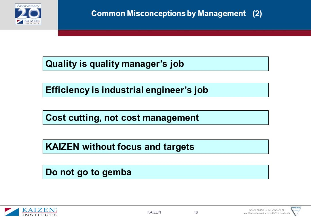 KAIZEN 40 KAIZEN and GEMBAKAIZEN are the trademarks of KAIZEN Institute Efficiency is industrial engineer's job Cost cutting, not cost management KAIZEN without focus and targets Do not go to gemba Quality is quality manager's job Common Misconceptions by Management (2)