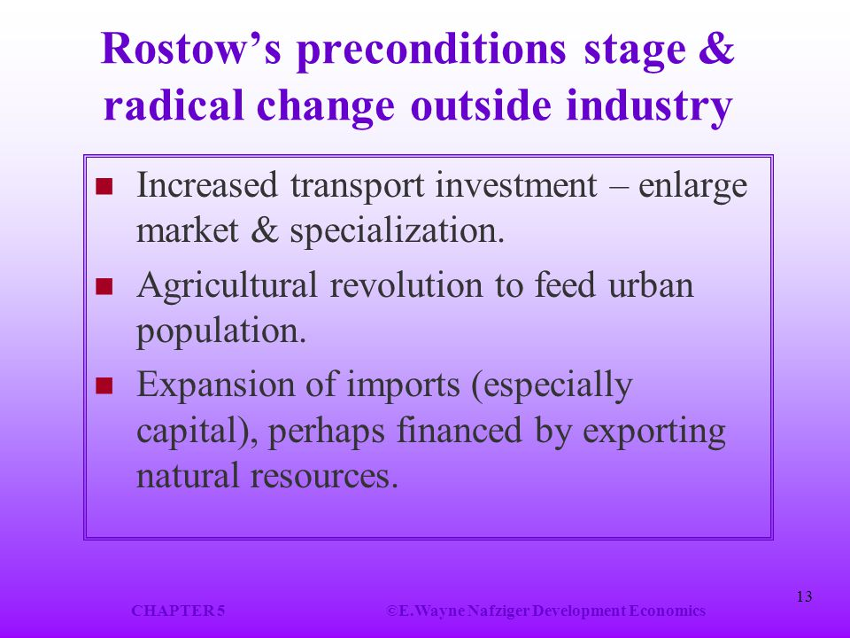 CHAPTER 5©E.Wayne Nafziger Development Economics 13 Rostow's preconditions stage & radical change outside industry Increased transport investment – en