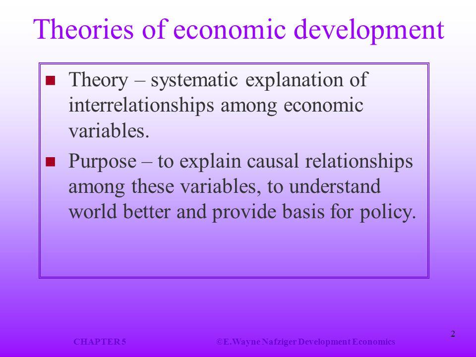 CHAPTER 5©E.Wayne Nafziger Development Economics 2 Theories of economic development Theory – systematic explanation of interrelationships among economic variables.