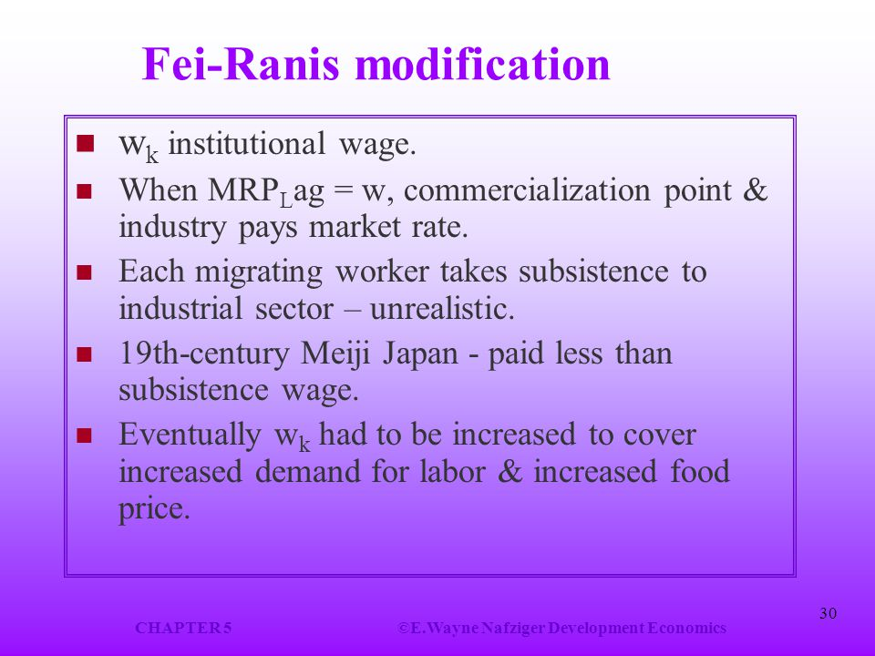 CHAPTER 5©E.Wayne Nafziger Development Economics 30 Fei-Ranis modification w k institutional wage. When MRP L ag = w, commercialization point & indust
