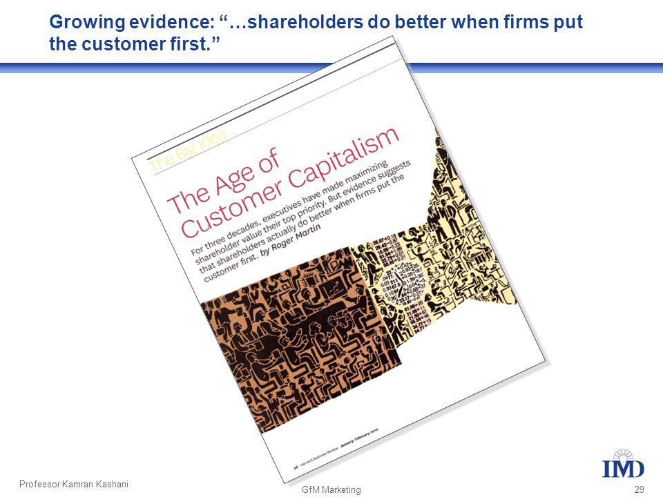 Professor Kamran Kashani GfM Marketing 29 Growing evidence: …shareholders do better when firms put the customer first.